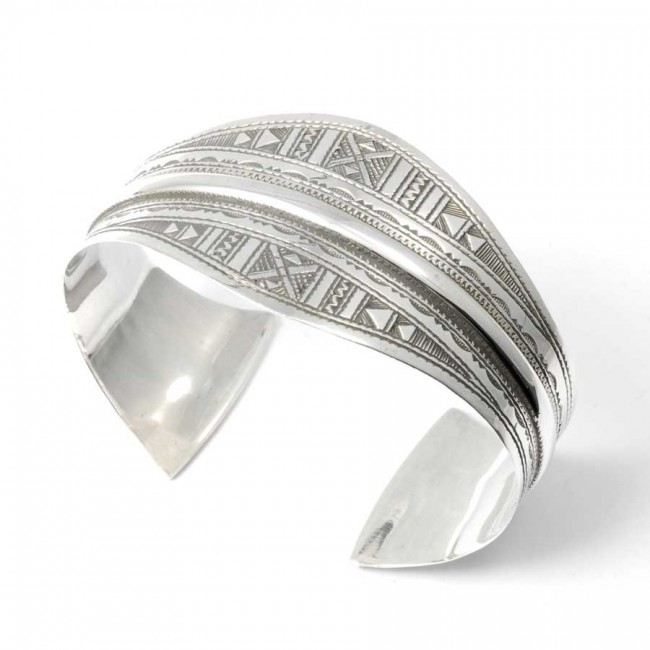 Tuareg Silver Wide Open Cuff Bracelet - Silver Bracelets - Boutique Nirvana