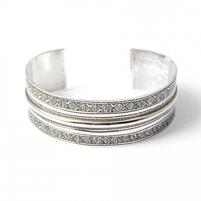 Authentic Tuareg Silver Open Cuff Bracelet - Silver Bracelets - Boutique Nirvana