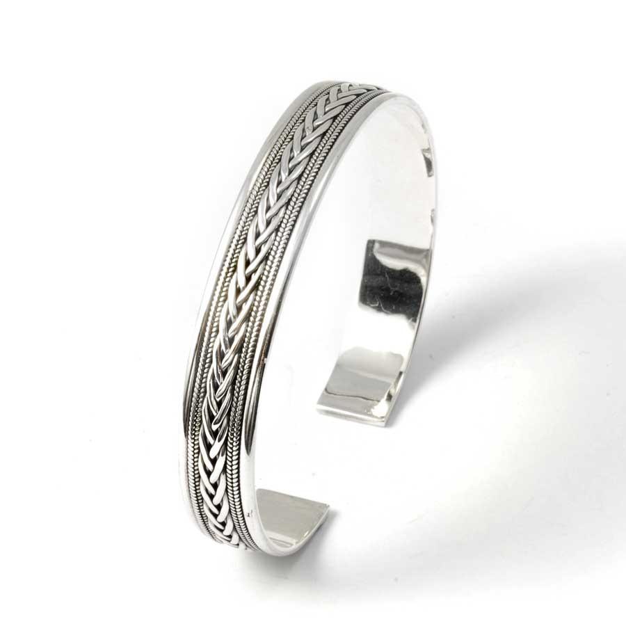 Fine Braided Silver Bangle - Silver Bracelets - Boutique Nirvana