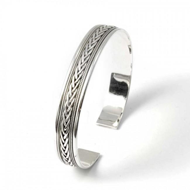 Bracelet argent tressé fin pour homme - BRACELETS ARGENT - Boutique Nirvana