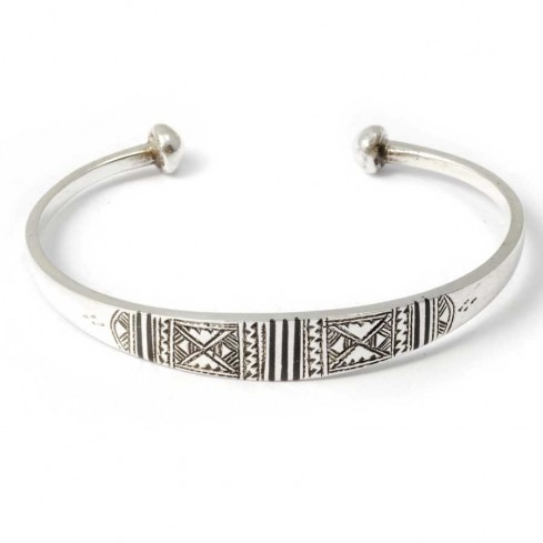 Tuareg Silver Tribal Open Bangle - Silver Bracelets - Boutique Nirvana