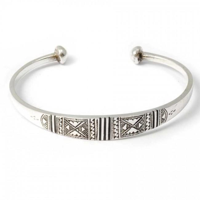 Tuareg Silver Tribal Open Bangle - Silver Bracelets - Boutique Nirvana