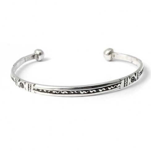 Fine Tuareg Silver Tribal Open Bangle - Silver Bracelets - Boutique Nirvana