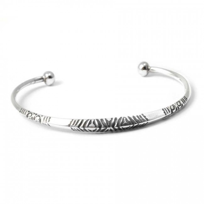 Tuareg Flattened Silver Tribal Open Bangle - TOUAREG - Boutique Nirvana