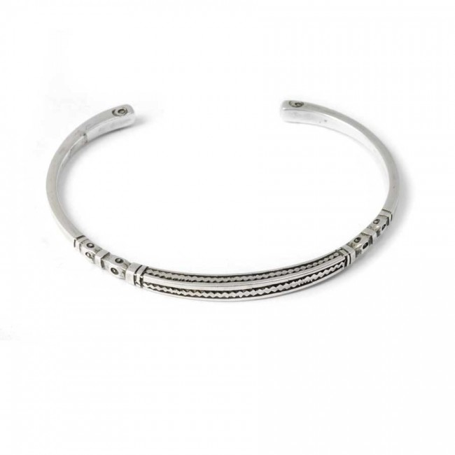 Tuareg Silver ZigZag Open Bangle - Silver Bracelets - Boutique Nirvana