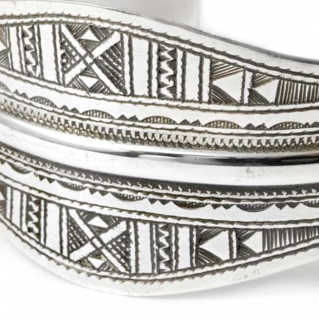 Tuareg Silver Wide Open Cuff Bracelet - TOUAREG+ - Boutique Nirvana