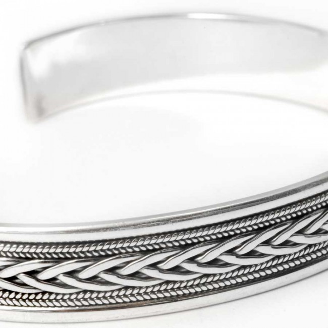 Fine Braided Silver Bangle - Silver Bracelets - Boutique Nirvana