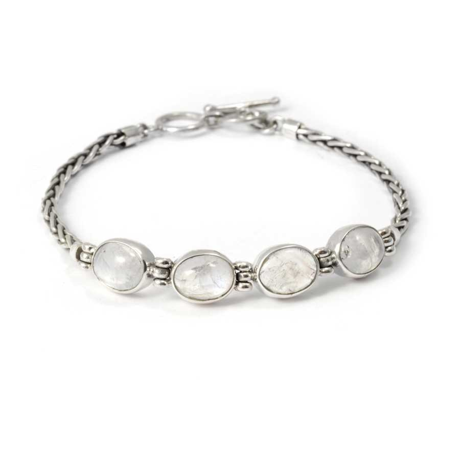 Braided Silver & Natural Stone Chain Bracelet - PIERRES FINES+ - Boutique Nirvana