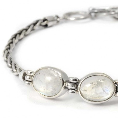 Braided Silver & Natural Stone Chain Bracelet - Silver Bracelets - Boutique Nirvana