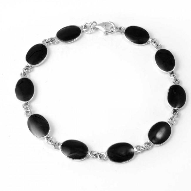 Bracelet argent pierres ovales - Corail, nacre etc. - Boutique Nirvana