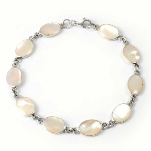 Unique Silver and Stone Chain Bracelet - Silver Bracelets - Boutique Nirvana