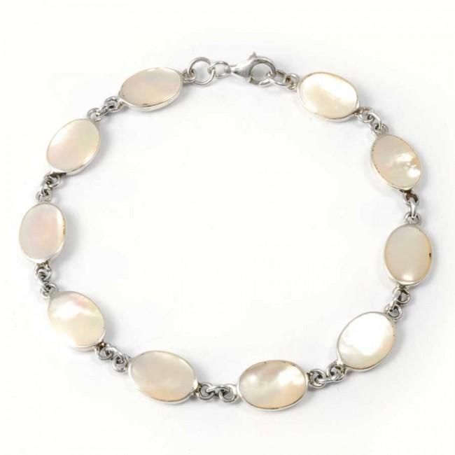 Bracelet argent pierres ovales - BRACELETS ARGENT - Boutique Nirvana