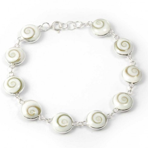 Bracelet argent oeil Ste Lucie rondes - Eye of Shiva - Boutique Nirvana