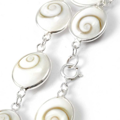 Sterling Silver & Eye of St Lucia Shell Bracelet - Silver Bracelets - Boutique Nirvana