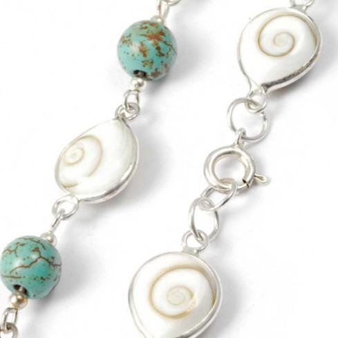 Eye of St Lucia and Natural Stone Silver Bracelet - Eye of Shiva - Boutique Nirvana