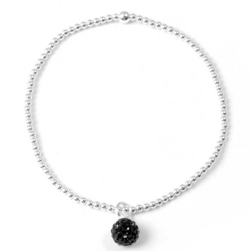 Bracelet argent élastique pendentif boule de strass - Silver Bracelets - Boutique Nirvana