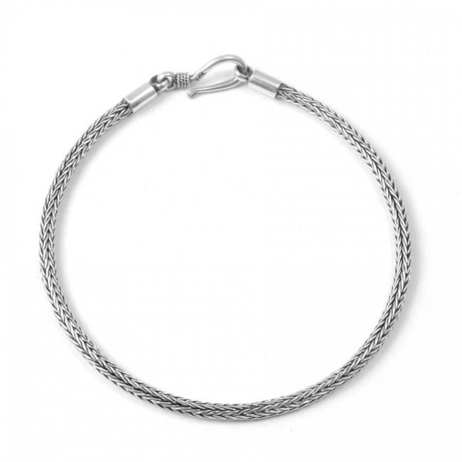 Fine Ethnic Braided Silver Bracelet - Silver Bracelets - Boutique Nirvana