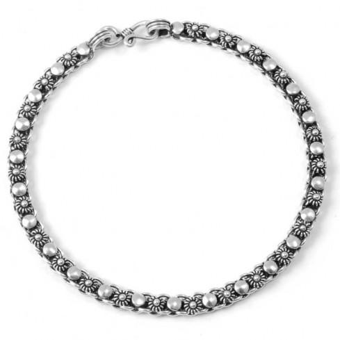 Bracelet argent motifs fleurs et ronds - BRACELETS ARGENT - Boutique Nirvana