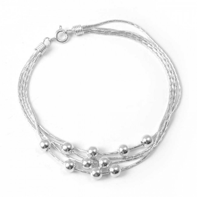 Bracelet argent multirangées et perles - BRACELETS ARGENT - Boutique Nirvana