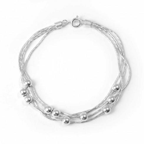 Bracelet argent multirangées et boules - BRACELETS ARGENT - Boutique Nirvana