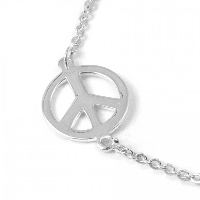 Bracelet argent peace and love et fine chaine - BRACELETS ARGENT - Boutique Nirvana