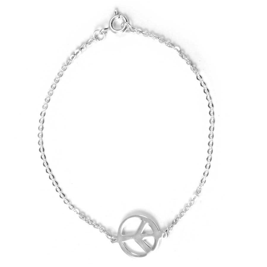 Silver Peace Sign Chain Bracelet - Silver Bracelets - Boutique Nirvana