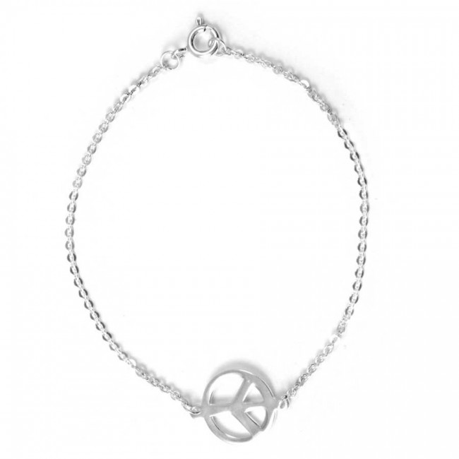 Silver Peace Sign Chain Bracelet - Silver Bracelets - Boutique Nirvana