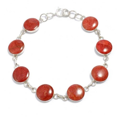 bracelet argent et corail
