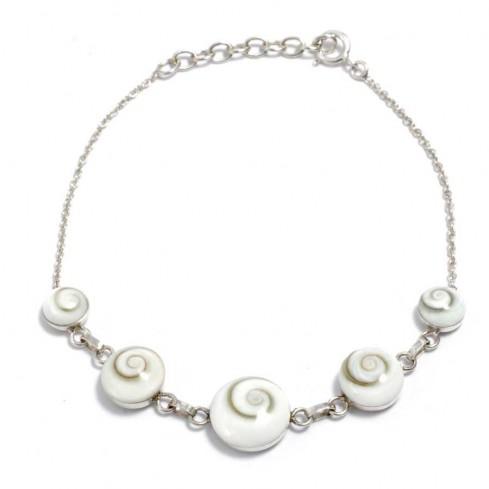 Balinese Eye of St Lucia Half Shell Bracelet - Silver Bracelets - Boutique Nirvana