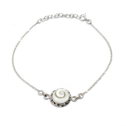 Eye of St Lucia Shell and Silverwork Bracelet - Silver Bracelets - Boutique Nirvana
