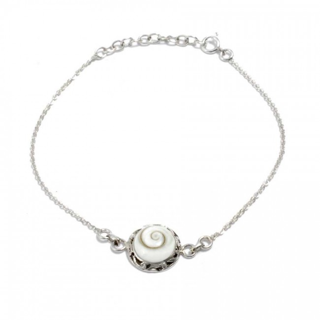 Eye of St Lucia Shell and Silverwork Bracelet - Eye of Shiva - Boutique Nirvana