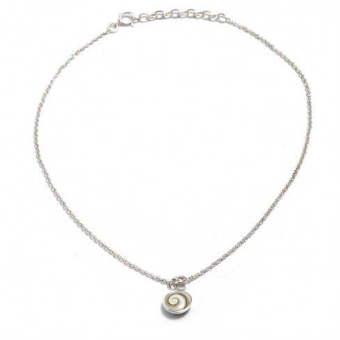 Silver Anklet with Eye of St Lucia Shell Charm  - Silver Ankle Chain - Boutique Nirvana