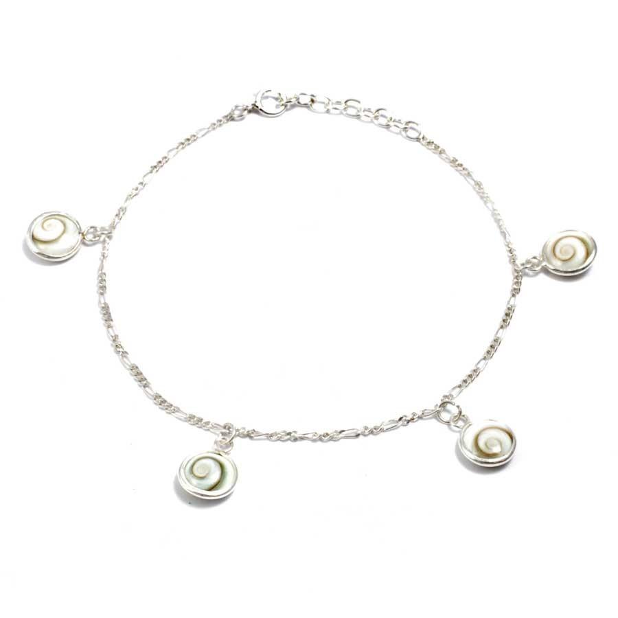 Balinese Eye of St Lucia Four Shell Chain Bracelet - Eye of Shiva - Boutique Nirvana
