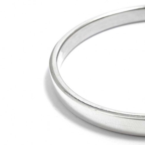 Sterling Silver Flattened Edge Bangle - Silver Bracelets - Boutique Nirvana