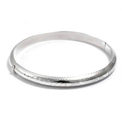 Carved Silver Children's Opening Bangle - Silver Bracelets - Boutique Nirvana
