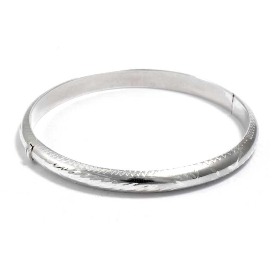 Carved Silver Children's Opening Bangle - Silver Bracelets - Boutique Nirvana