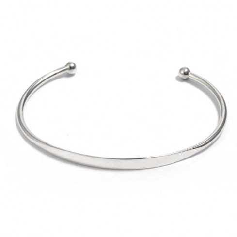 Small Silver Adjustable Open Bangle - Silver Bracelets - Boutique Nirvana