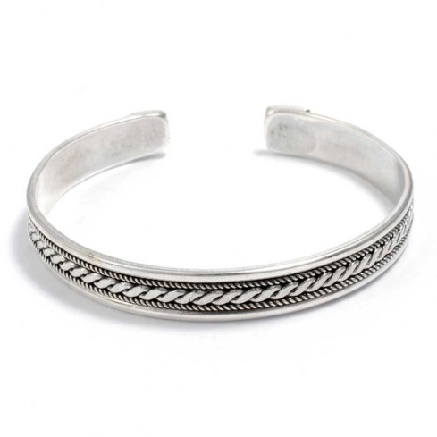 Plaited Silver Open Bangle - Silver Bracelets - Boutique Nirvana