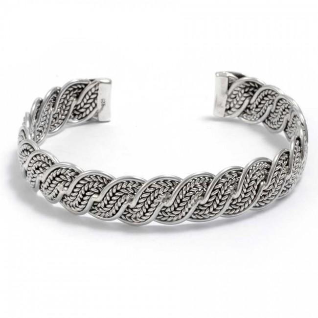 bracelet argent tressé réglable