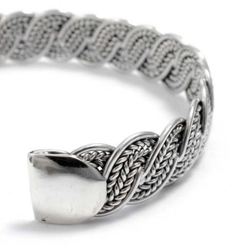 Indian Chunky Plaited Silver Open Bangle - Silver Bracelets - Boutique Nirvana
