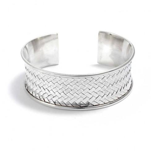 bracelet argent large tressé sur le dessus - BRACELETS ARGENT - Boutique Nirvana