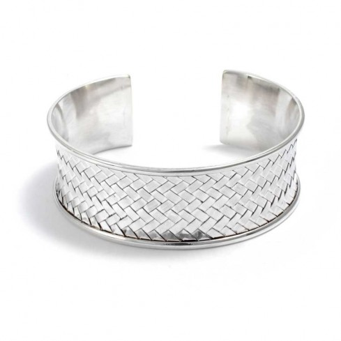 Wide Chunky Plaited Silver Bangle - Silver Bracelets - Boutique Nirvana