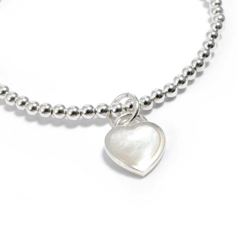 Silver and Natural Stone Heart Bracelet - Silver Bracelets - Boutique Nirvana