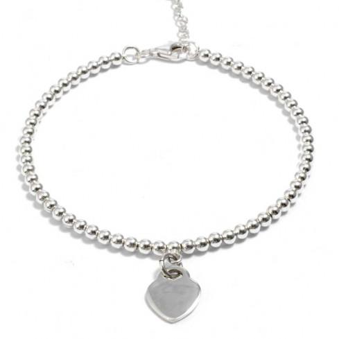 Silver Beaded Heart Charm Bracelet - Silver Bracelets - Boutique Nirvana