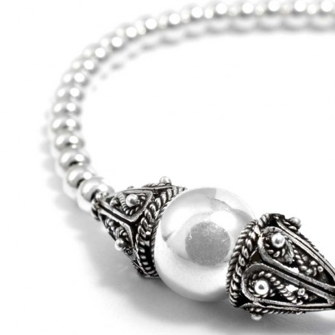 bracelet argent souple avec perles vieillies - Accueil - Boutique Nirvana