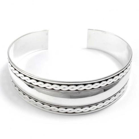 bijoux ethniques argent bracelet nirvana rigide large