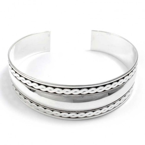 Tuareg Plaited Silver Open Bangle - Silver Bracelets - Boutique Nirvana
