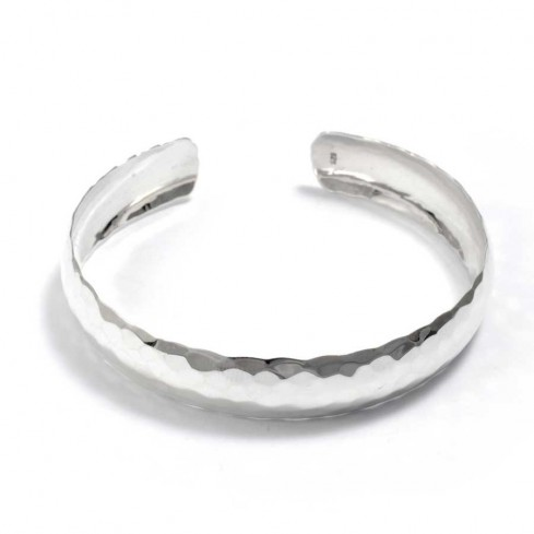 Hammered Silver Open Bangle - Silver Bracelets - Boutique Nirvana