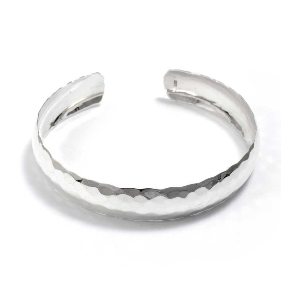 Hammered Silver Open Bangle - Silver Bracelets - Boutique Nirvana