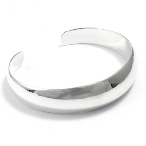 Curved Smooth Silver Open Bangle - Silver Bracelets - Boutique Nirvana